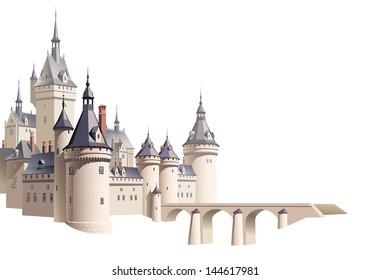 Castillo con un puente y una perspectiva aérea sobre fondo blanco. Sfumato: en 2 capas separadas