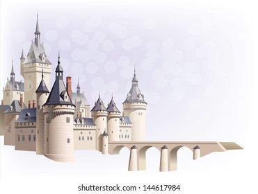 Castle with a bridge and aerial perspective on the colored background. Sfumato - on 2 separate layers