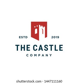 castle building vector icon logo design
