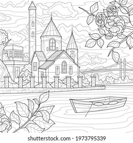 Castle by the river.Coloring book antistress for children and adults. Illustration isolated on white background.Zen-tangle style. Hand draw