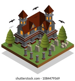 Castle in the cemetery. Isometric. Isolated on white background. Vector illustration.