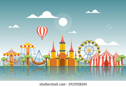 Castle Circus Amusement Park Happy Holiday Illustration