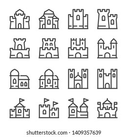 castle and citadel thin line icon set,vector and illustration
