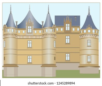 The castle with column towers, the building, the decorative accessories of the facade, the division of the facade with raised lines, chimneys, windows of various sizes.