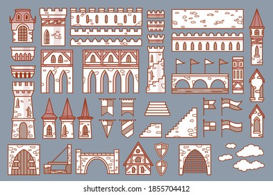 Castle constructor, fortress and medieval palace fort with towers, vector isolated elements. Cartoon castle or palace construction icons of citadel building architecture, fortification walls and gates