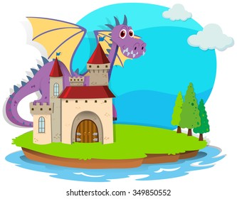 Castle and dragon on the island illustration