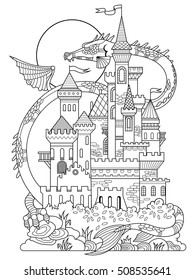 Castle and dragon vector illustration. Fantasy drawing for children. Anti-stress coloring for adult. Tattoo stencil. Zentangle style. Black and white lines. Lace pattern