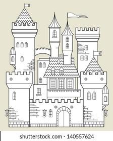 Castle fairy tale, vector illustration