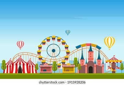 Castle Ferris Wheel Amusement Park Happy Holiday Illustration
