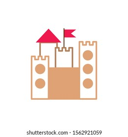 castle with flag fantasy line fill style vector illustration