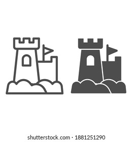 Castle with flag line and solid icon, waterpark concept, Sandcastle sign on white background, Sand fortress icon in outline style for mobile concept and web design. Vector graphics.