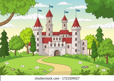 Castle in the forest. Hand drawn vector illustration with separate layers.