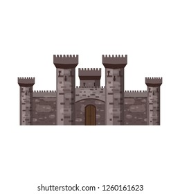 Castle, fortress, ancient, architecture middle ages Europe, Medieval palace with high towers, vector, banners, isolated, illustration, cartoon style
