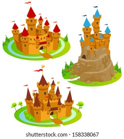 Castle. Fun cartoon map elements. Elements  are in the separate layers.
