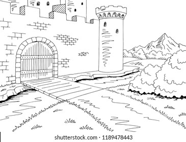 Castle gate graphic black white landscape sketch illustration vector