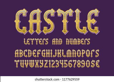 Castle golden letters and numbers with currency signs. Medieval gaming stylized font.