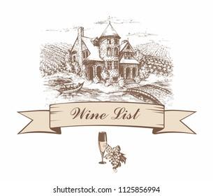 Castle with grape fields. Sketch. Shaped banner. Wine list. menu. Inscription. Vector illustration