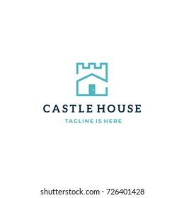 castle house real estate mortgage vector logo icon template
