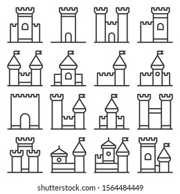 Castle Icon Line Style Set on White Background. Vector
