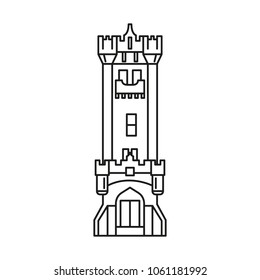 Castle Icon Outline Vector For Web Design Isolated On White Background