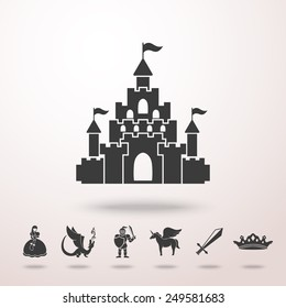 Castle icon with shadow ans set of monochrome fairytale (game) icons - sword, knight, dragon, princess, crown, unicorn, castle. Vector