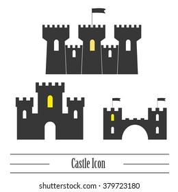 Castle icon. Vector set