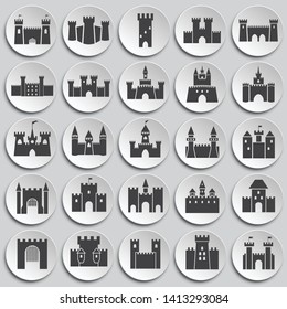 Castle icons set on background for graphic and web design. Simple illustration. Internet concept symbol for website button or mobile app.