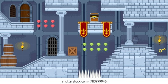 Castle interior level design for creating fantasy adventure video games