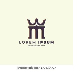 castle king logo design template. initial M king design logo vector