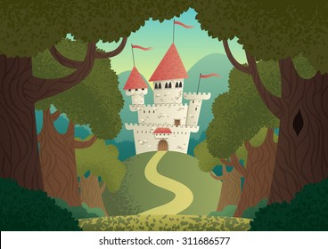 Castle Landscape: Cartoon fantasy castle. No transparency used. Basic (linear) gradients.