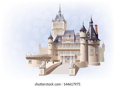 Castle with lions on the colored background. Sfumato - on 2 separate layers