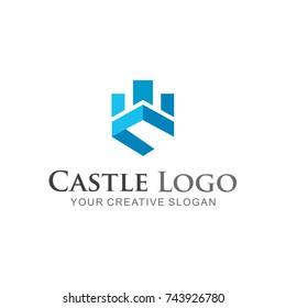 Castle logo abstract, Business logo vector  illustration