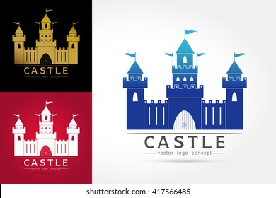 Castle logo . Abstract. Isolated building on white background,vector illustration