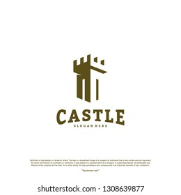 Castle logo design concept vector. Castle Tower logo Template Vector.