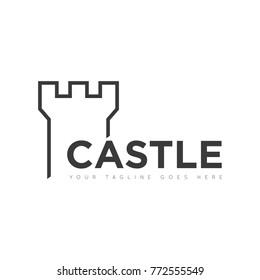 Castle logo, icon design template