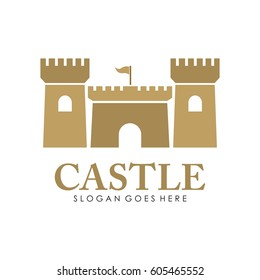 Castle logo, icon, and illustration full vector