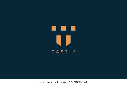 Castle logo with simple shape forms negative space of letter T