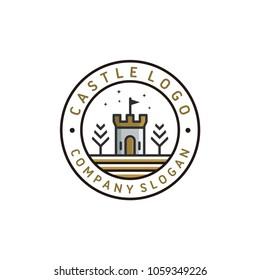 Castle logo template, castle tower vector illustration
