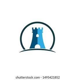 Castle logo template vector icon illustration design