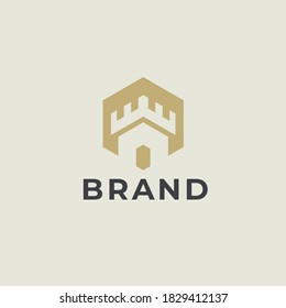 Castle logo. Tower, fortress, bastion icon. Real estate, protection, building, security, guard, architecture business logo design template. Vector illustration.