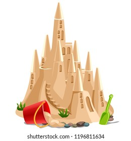 Castle made of sand isolated on white background. Vector cartoon close-up illustration.