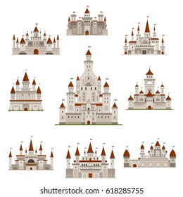 Castle or medieval fortress vector icons set. Royal princess or knight residence tower of fairy tale kingdom fort with fortified walls and flags on roof. Gothic architecture building
