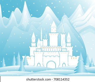 Castle in the mountains. Snowy landscape. Vector illustration