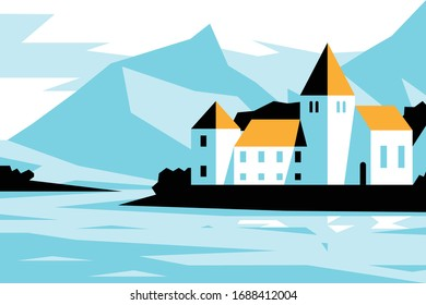 Castle near lake shore vector illustration. Medieval fairytale kingdom palace with vintage arched windows and turrets flat style concept. Picturesque landscape with mountains on background