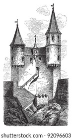 Castle in Neckarsteinach (Germany) - Vintage illustration from Meyers Konversations-Lexikon 1897