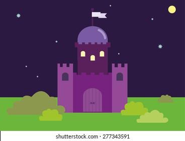 Castle Night Landscape Vector