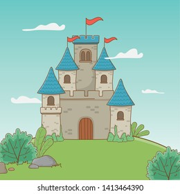 Castle with pennants design vector illustration