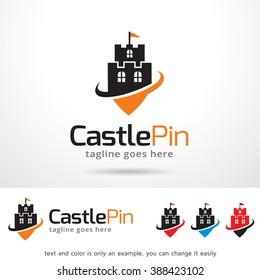 Castle Pin Logo Template Design Vector