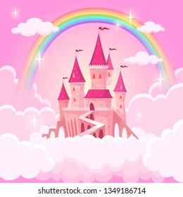Castle princess. Fantasy flying tale palace fairies clouds magic fairytale royal palace heaven medieval cartoon, vector illustration