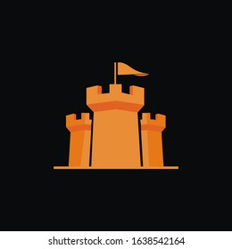 Castle Protection Logo design Template element isolated on black background